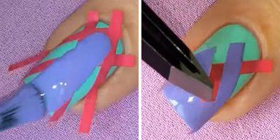 truque para decorar unhas com esmalte azul