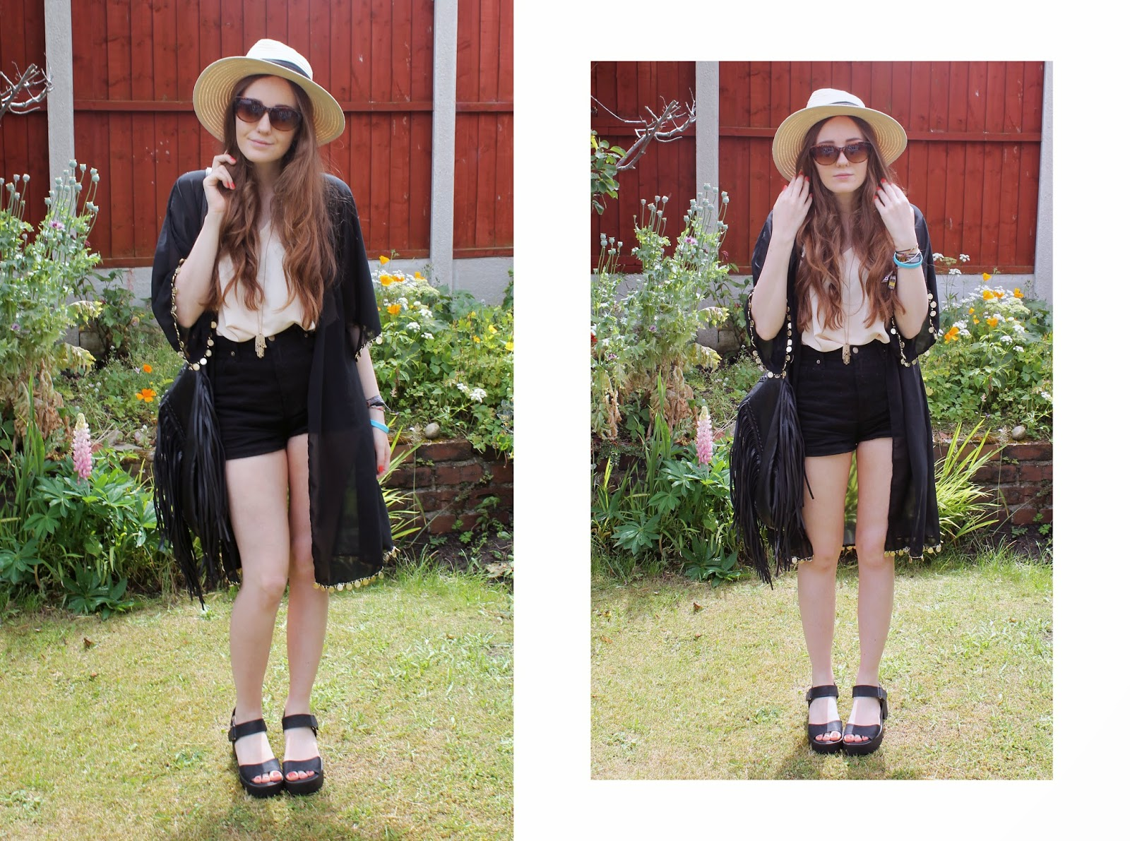 primark fedora tortoiseshell cat-eye sunglasses black handmade kimono with coin trim nude handmade cami top forever 21 black denim shorts primark fringed bag new look chunky black sandals summer 2014