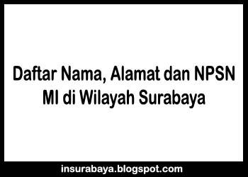 Daftar Nama Alamat dan NPSN MI di Wilayah Surabaya