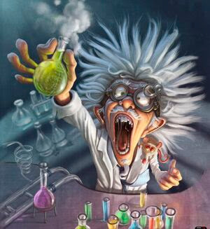 A cartoon of a mad scientist with wild white hair and goggles holding a vial of smoking green liquid in his hand. On the table in front of him are more colored bottles.