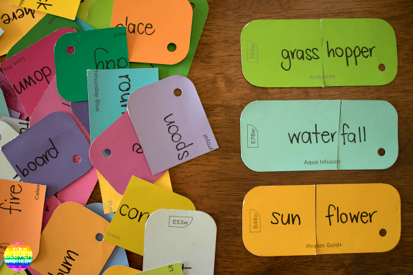 Compound Word Sort - perfect printable cards for introducing children to composite words | you clever monkey