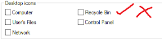 check uncheck recycle bin