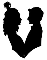 silhouette of couple facing each other with feathers in their hair