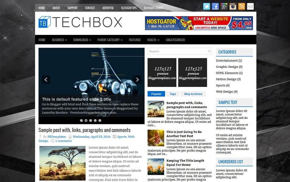 TechBox Responsive Blogger Teknoloji Teması