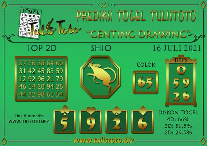 Prediksi Togel GENTING DRAWING TULISTOTO 16 JULI 2021