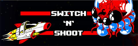 Switch N Shoot - space ship thrusting towards a space monster.