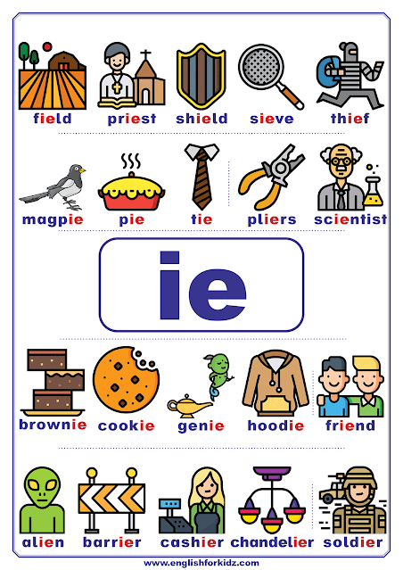 ie words - printable vowel teams poster - English phonics
