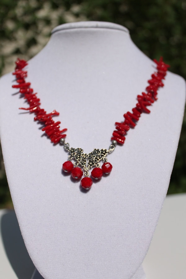 Moons Jewelry Beautiful Red Necklace Red Coral Necklace