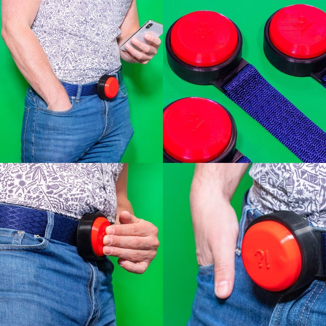My newest fake invention is the FrustrationButton, you own belt buckle horn for slow walkers