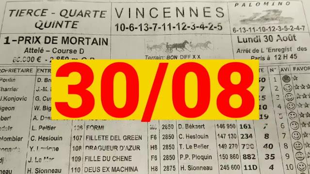 programme quinté+ Pronostic quinté Lundi 30/08/2021