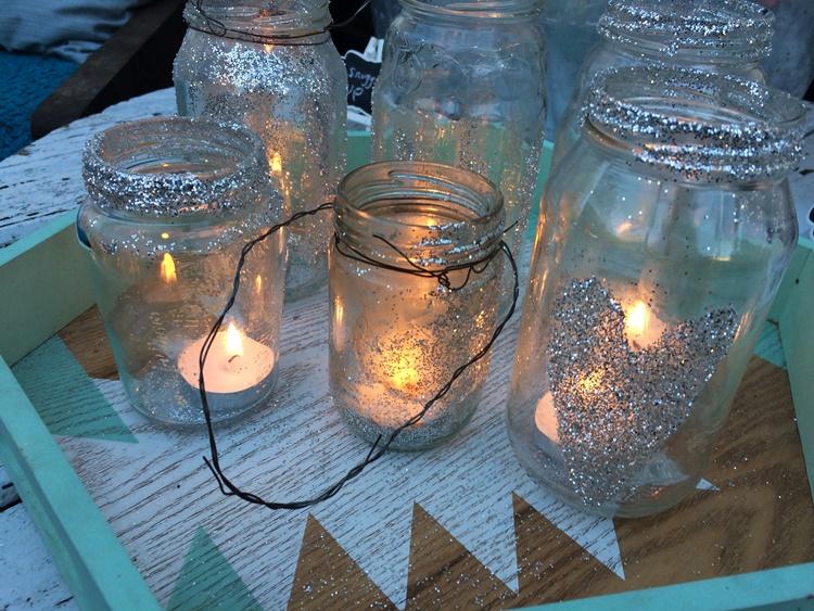 jar lanterns all lit and lookin pretty