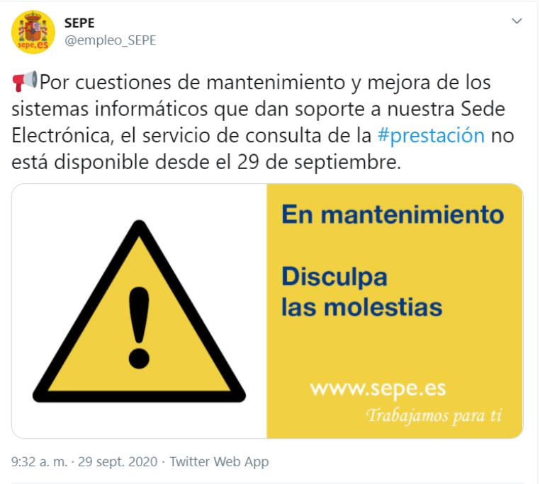 La Sede Electrónica del SEPE NO FUNCIONA desde hoy día 29 Septiembre