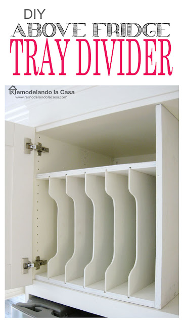 Kitchen organization- how to make a tray divider for above the fridge