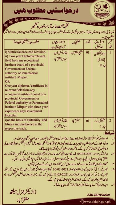 Jobs in AJK Health Department 2021