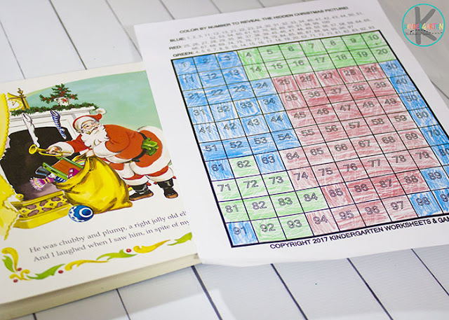 Kindergarten Worksheets to practice Christmas math