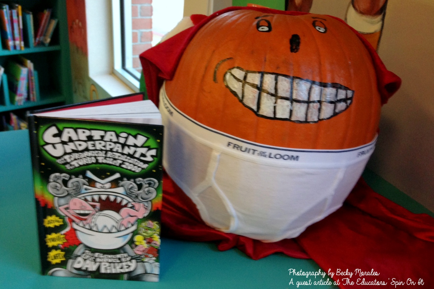 make the The New Captain Underpants inspired Story Book Pumpkin Character: