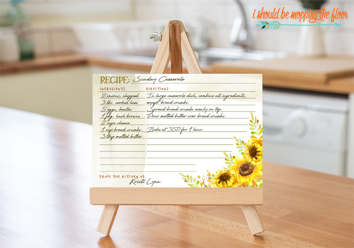 Sunflower Recipe Cards