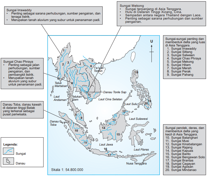 Gambar Peta Sungai di Asia Tenggara