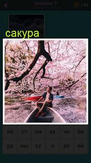 цветет сакура и плывет лодка сквозь них с мужчиной 667 слов 9 уровень