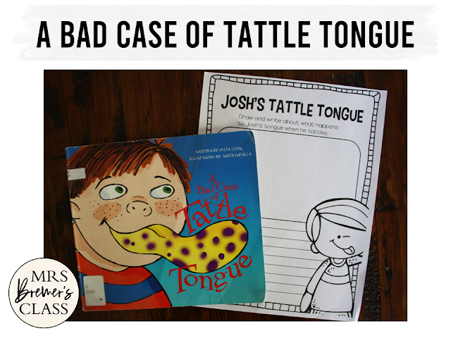 A Bad Case of Tattle Tongue book study activities unit with Common Core aligned literacy companion activities for Kindergarten and First Grade