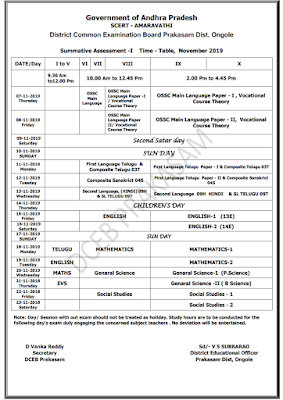 SA-I TIME TABLE And Syllabus Prepared by DCEB PRAKASAM