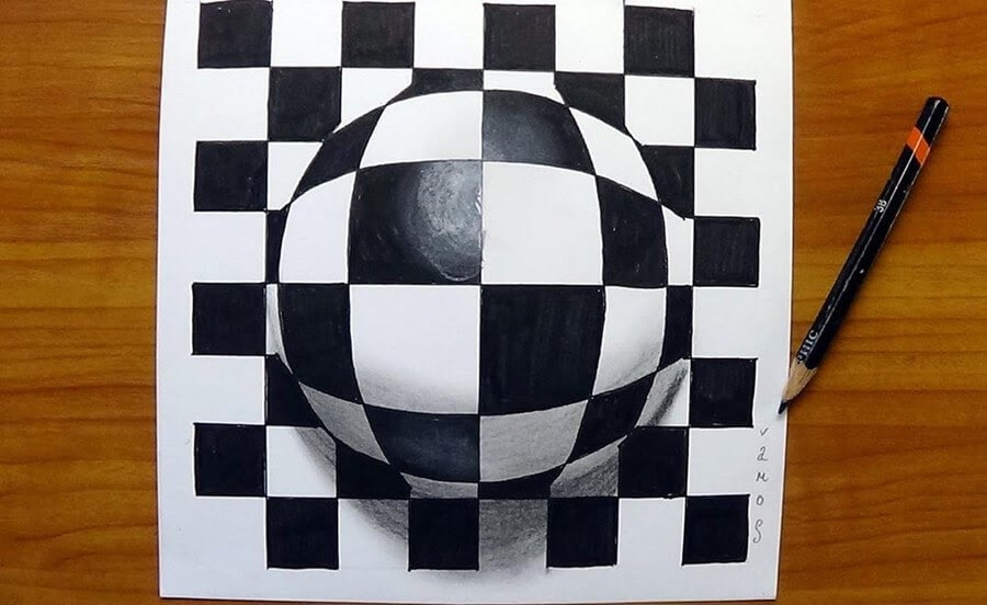 11-Chequered-Ball-3D-Art-Sandor-Vamos-www-designstack-co