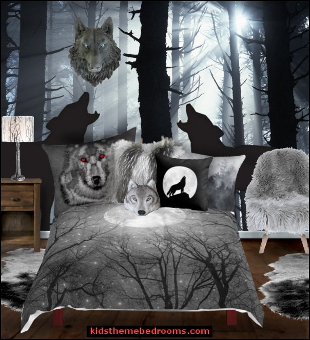 wolf bedroom Southwestern - American Indian theme bedrooms - mexican rustic style decor - wolf theme bedrooms - Santa Fe style - wolf bedding - Tipis, Tepees, Teepees - Decal sticker wolf - wolf wall mural decals - birch tree branches -