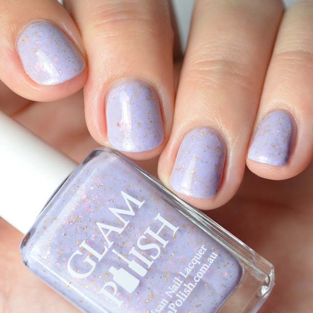 lavender nail polish with flakies