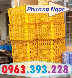 Sóng nhựa hở 8 bánh xe, sọt nhựa rỗng HS022, sọt rỗng công nghiệp 8 bánh 8bx3
