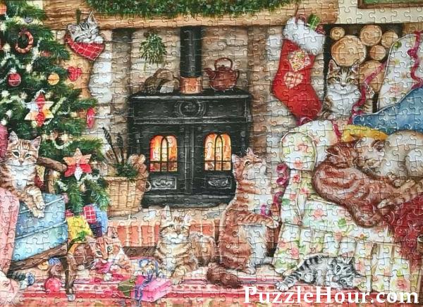 Jigsaw Puzzle Falcon de luxe Christmas Cats Debbie Cook Art Puzzles Jigsaws Festive Scene Cat Fan