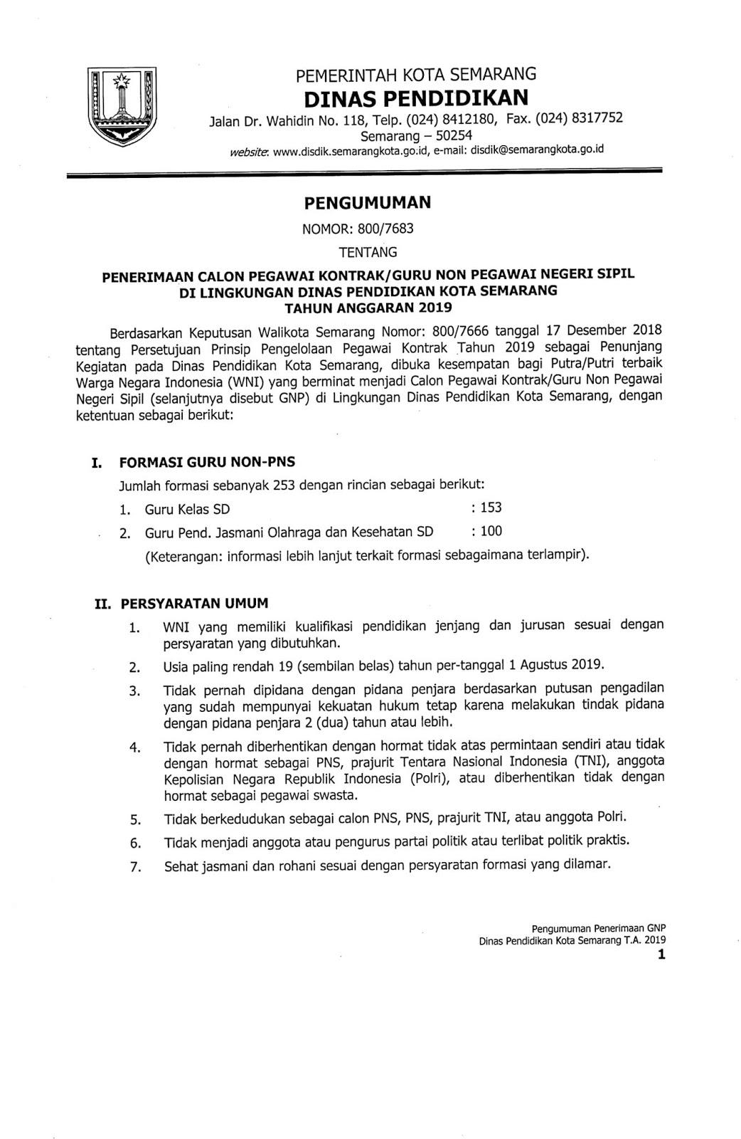 Lowongan Kerja Non PNS Dinas Pendidikan Kota Semarang Agustus 2019 [ 253 Formasi]