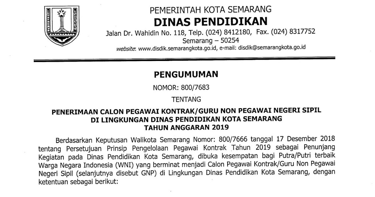 Lowongan Kerja Non PNS Dinas Pendidikan Kota Semarang