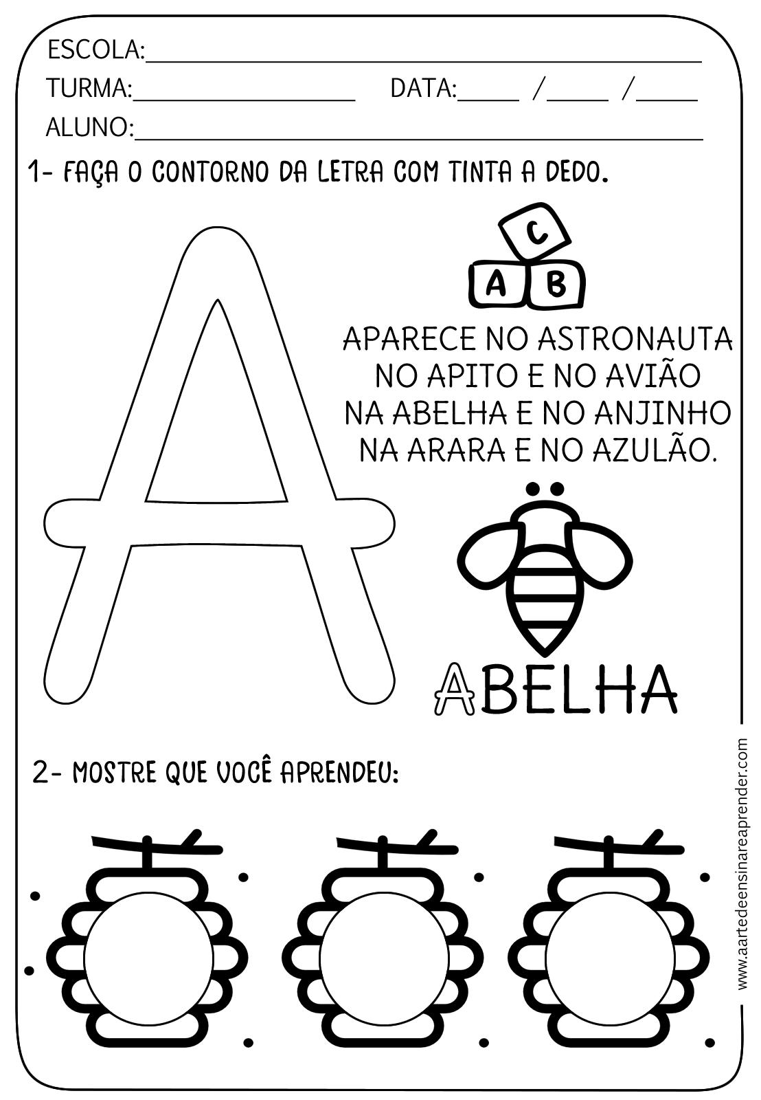 Favoritos Atividade pronta - Alfabeto: Letra A - A Arte de Ensinar e Aprender TA66