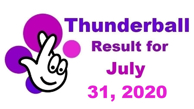 Thunderball Results for Friday, July 31, 2020