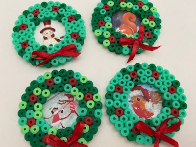 Hama bead mini Christmas wreaths craft