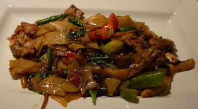 Spicy Stir Fried Noodles with Beef at Mantra Thai, Newcastle Quayside