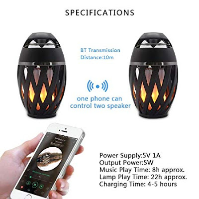 Phoebe LED Flame Lantern Outdoor Speaker