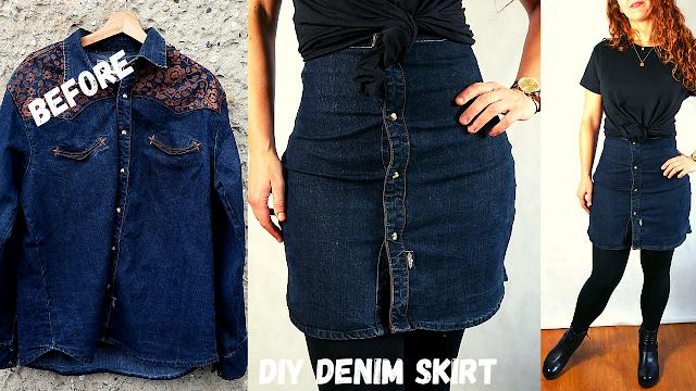 diy button up skirt | spodniczka z guzikami diy