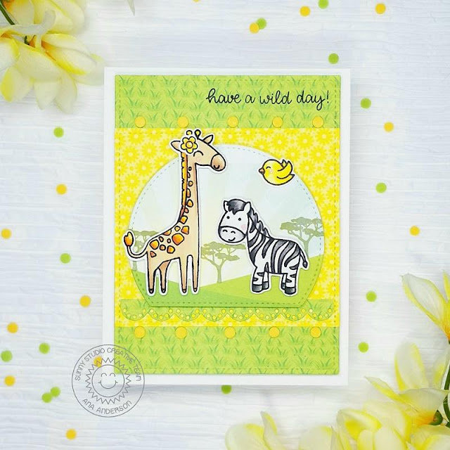 Sunny Studio Stamps: Stitched Semi-Circle Dies Savanna Safari Frilly Frame Dies Eyelet Lace Border Dies Everyday Card by Ana Anderson