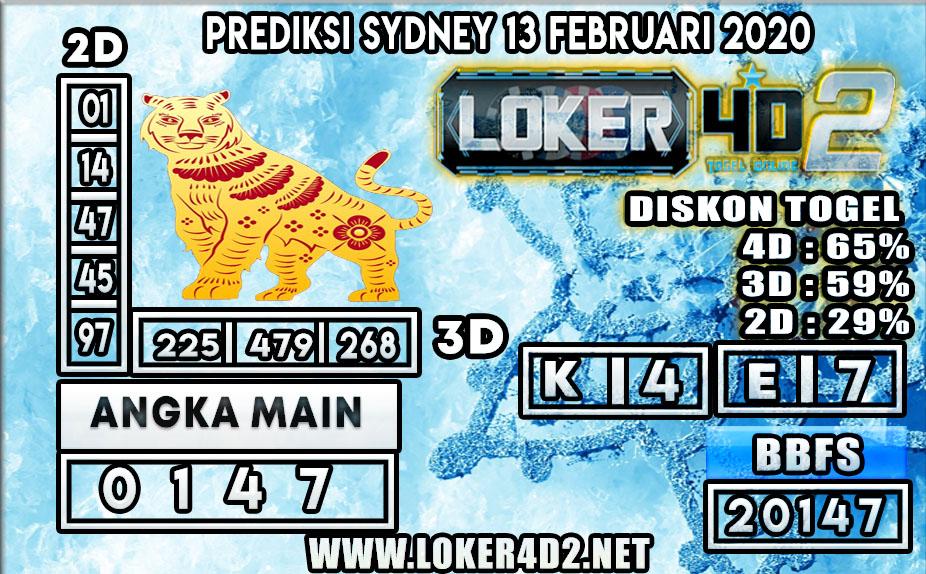PREDIKSI TOGEL SYDNEY LOKER4D2 13 FEBRUARI 2020