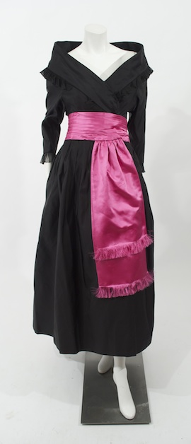 1960s Chanel Haute Couture black dress coat with pink belt