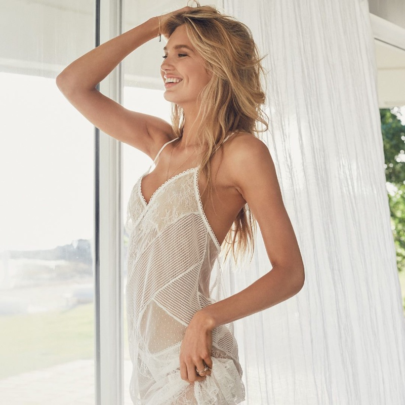 Romee Strijd wears lace coverup from Victoria's Secret bridal lingerie collection