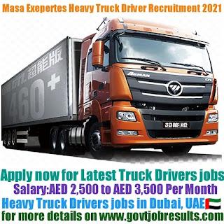 Masa Exepertes Heavy Truck Driver Recruitment 2021-22