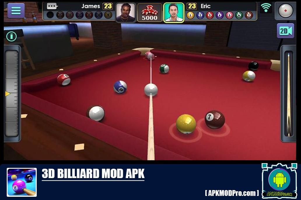 3D Billiard Mod Apk 2.2.2.3 [Unlimited Money, Long Lines]