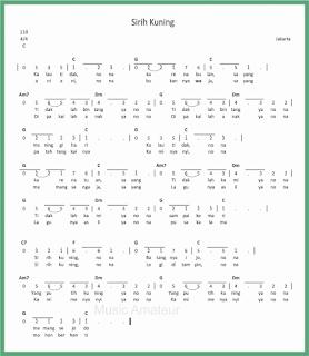 not angka lagu sirih kuning lagu daerah jakarta