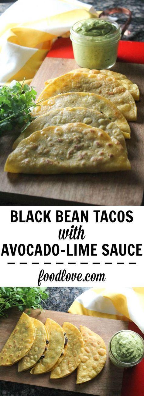Crispy Black Bean Tacos with avocado Lime Sauce #tacos #tacosrecipes #veganrecipes #blackbean #blackbeantacos #avocado #avocadolimesauce #crispy
