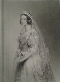 Picture of Queen Victoria in her wedding dress (1841) from the Victoria and Albert Museum