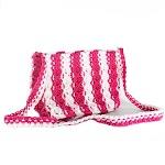 Tas Rajut Tali Kur (Macrame) Motif Peace Putih-Pink