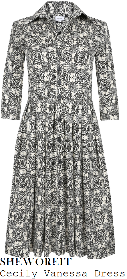 holly-willoughby-cecily-vanessa-black-and-white-monochrome-geometric-mandala-scarf-print-three-quarter-sleeve-collared-button-up-shirt-dress