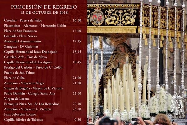 Horario e Itinerario de la procesión triunfal de María Stma. de la Victoria teste Sábado 13/10